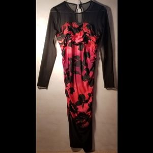 Maggy London Red and Black Dress